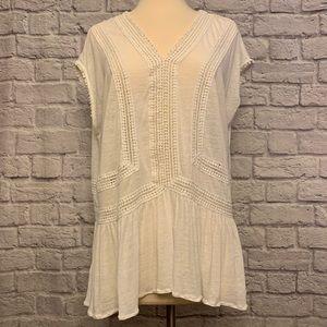 Loft Linen Blend Blouse with Crochet Lace & Trims